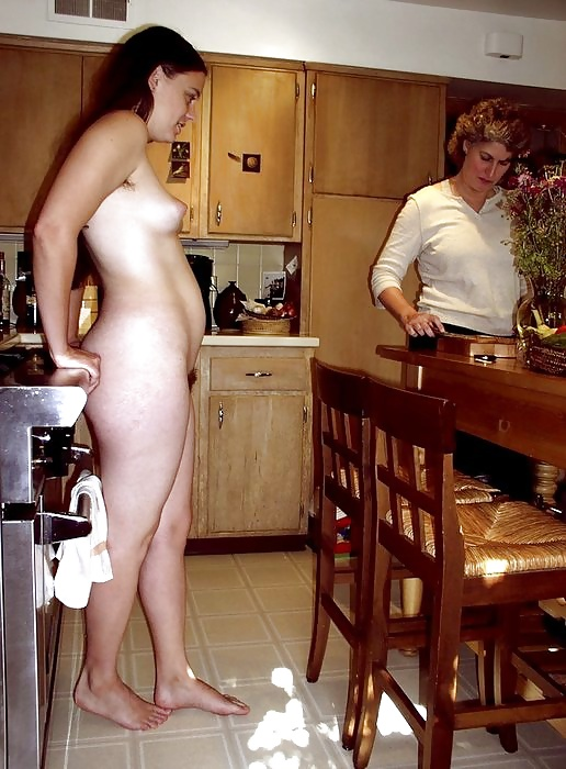moms and daughters nude cooking